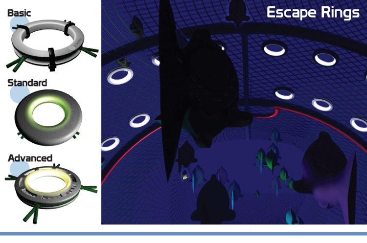A key focus in the design of the Escape Rings is to make them as low maintenance as possible. The rings are illuminated, acting in a similar way to emergency exit signs for the fish, making it very clear where the escape routes are / Ocean Great Ideas